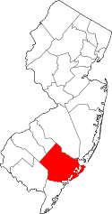 New Jersey Map showing Atlantic County