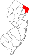 New Jersey Map showing Bergen County