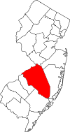 New Jersey Map showing Burlington County