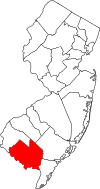 New Jersey Map showing Cumberland County