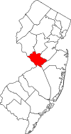 New Jersey Map showing Mercer County