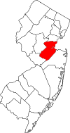 New Jersey Map showing Middlesex County