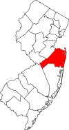 New Jersey Map showing Monmouth County