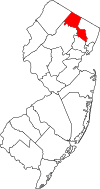 New Jersey Map showing Passaic County