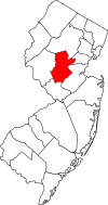New Jersey Map showing Somerset County