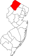 New Jersey Map showing Sussex County