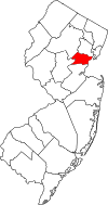 New Jersey Map showing Union County
