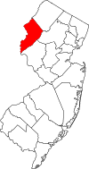 New Jersey Map showing Warren County
