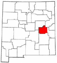 New Mexico Map showing De Baca County