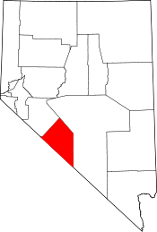 Nevada Map showing Esmeralda County