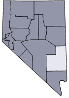 Nevada Map showing Lincoln County