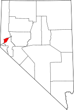 Nevada Map showing Storey County