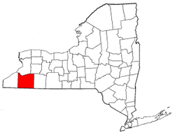 New York Map showing Cattaraugus County