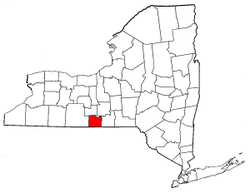 New York Map showing Chemung County