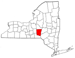 New York Map showing Chenango County