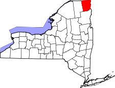 New York Map showing Clinton County