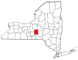 New York Map showing Cortland County