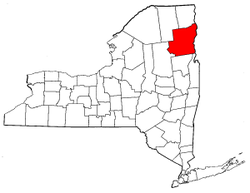 New York Map showing Essex County