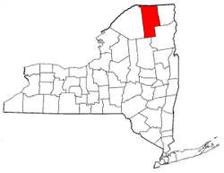 New York Map showing Franklin County