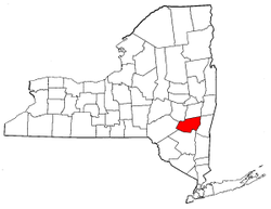 New York Map showing Greene County