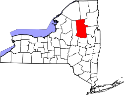 New York Map showing Hamilton County
