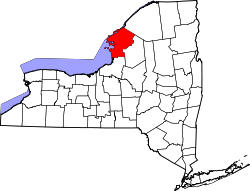 New York Map showing Jefferson County