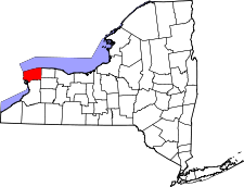 New York Map showing Niagara County