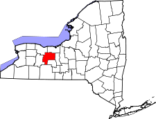 New York Map showing Ontario County