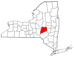 New York Map showing Otsego County