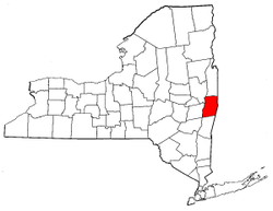 New York Map showing Rensselaer County