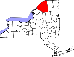 New York Map showing Saint Lawrence County