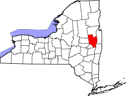New York Map showing Saratoga County