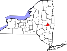New York Map showing Schenectady County