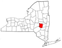 New York Map showing Schoharie County