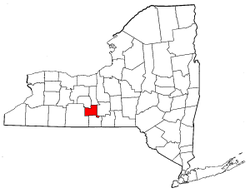 New York Map showing Schuyler County