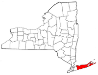 New York Map showing Suffolk County