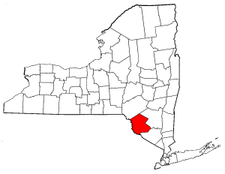 New York Map showing Sullivan County
