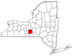 New York Map showing Tompkins County