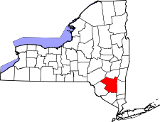 New York Map showing Ulster County