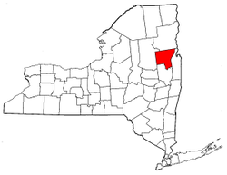 New York Map showing Warren County