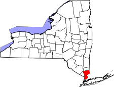 New York Map showing Westchester County