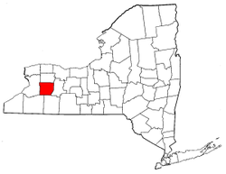 New York Map showing Wyoming County