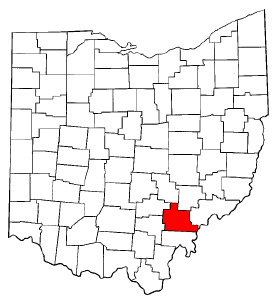 Ohio Map showing Athens County