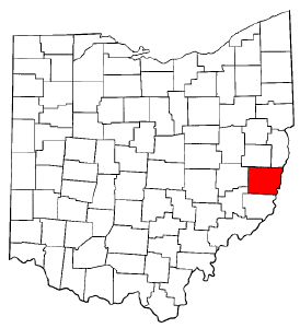 Ohio Map showing Belmont County
