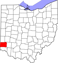 Ohio Map showing Butler County