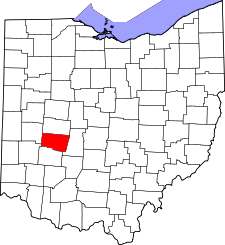 Ohio Map showing Clark County