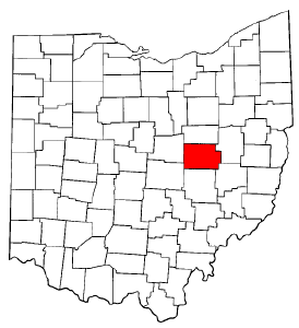 Ohio Map showing Coshocton County