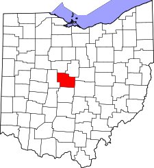 Ohio Map showing Delaware County