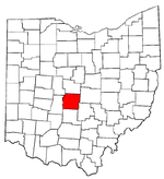 Ohio Map showing Franklin County