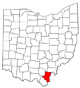 Ohio Map showing Gallia County
